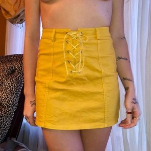 Dresses & Skirts - Mustard Lace Up Skirt